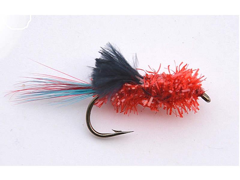 Streamer- rød/sort flue str. 4